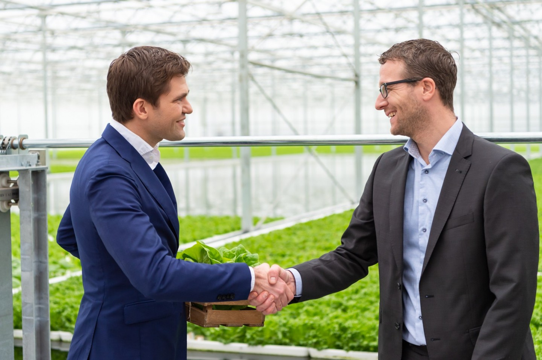 Erik van Nieuwenhuizen (Albert Heijn) en Willem Bas (B4Agro)