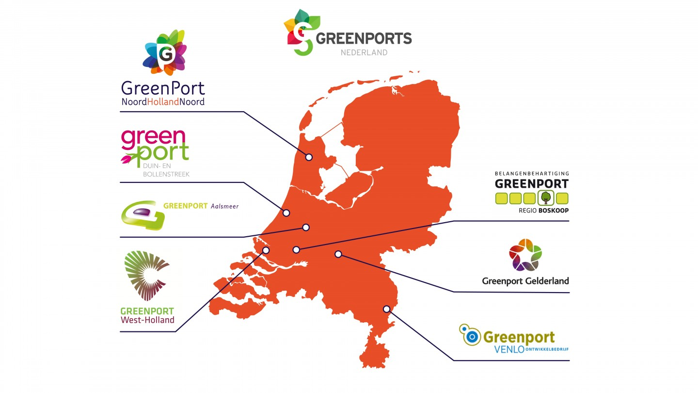 Kaart greenports locaties nederland